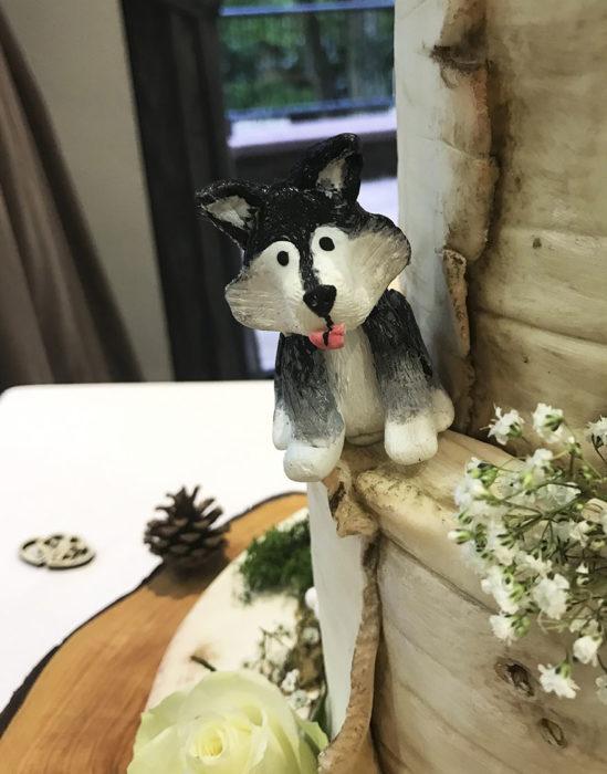 pastel de bodas con malamutes
