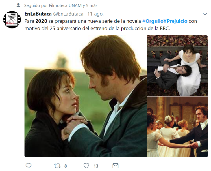 orgullo y prejuicio versión 2020 twit