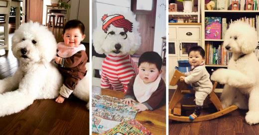 Esta pequeña niña japonesa y su gran caniche te harán el día; las fotos gritan ¡ternura!
