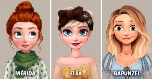 Las princesas de Disney usando peinados inspirados en Pinterest