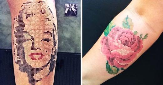 15 Diseños de tatuajes punto de cruz que lucen increíbles