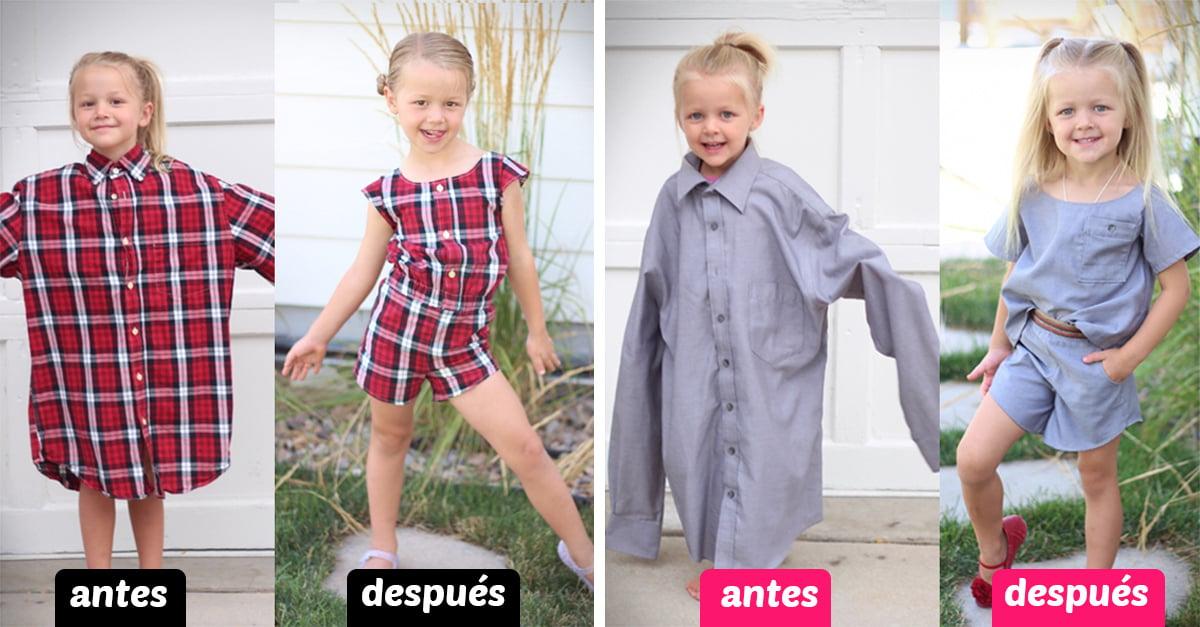 Mamá genio usa la ropa vieja de su esposo para hacerle hermosos vestidos a su hija; es sorprendente