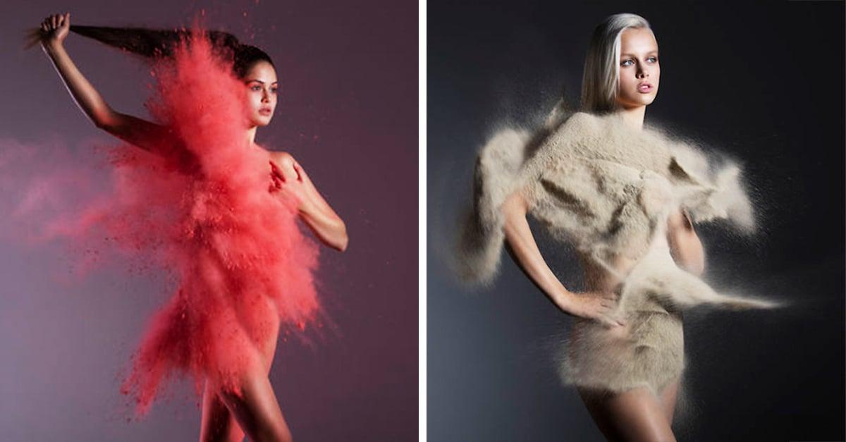 Esta fotógrafa viste a sus modelos con increíbles vestidos de arena y agua