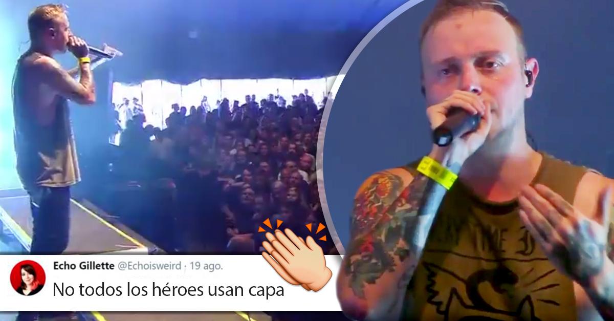 Vocalista de una banda de metal presenció acoso sexual y detuvo su concierto para correr al agresor