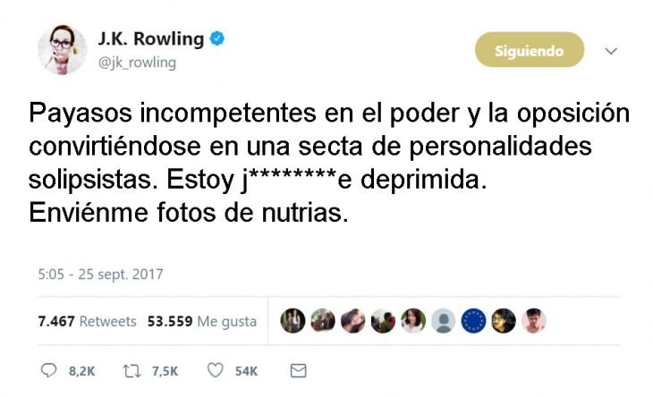 J.K. Rowling tweets and harry otter