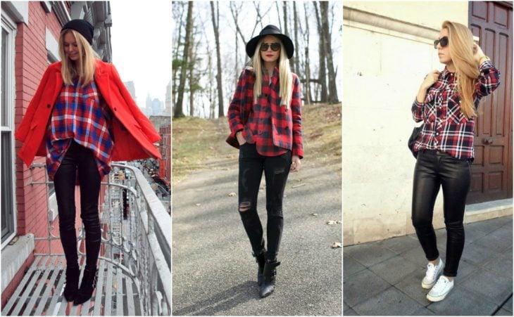 Jeans negros y camisa de cuadros