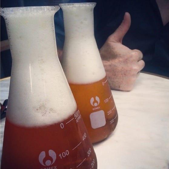 cerveza en matraces