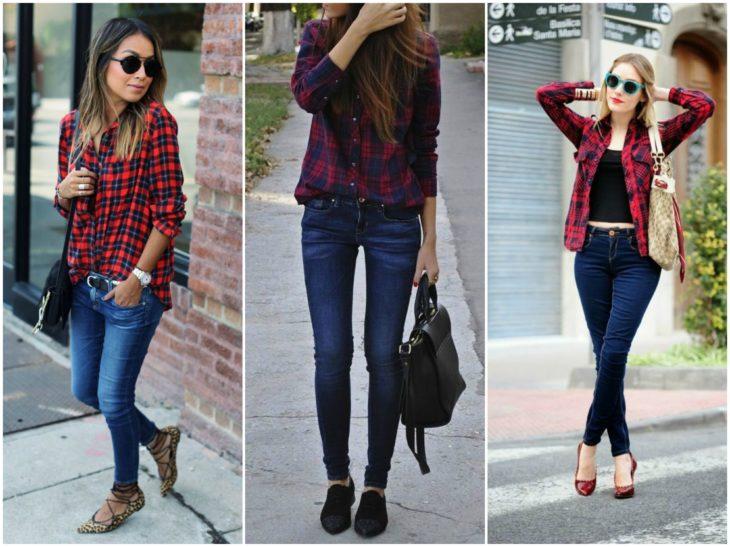 jeans azules y camisas de cuadros