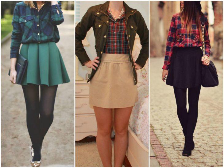 camisa de cuadros con minifalda