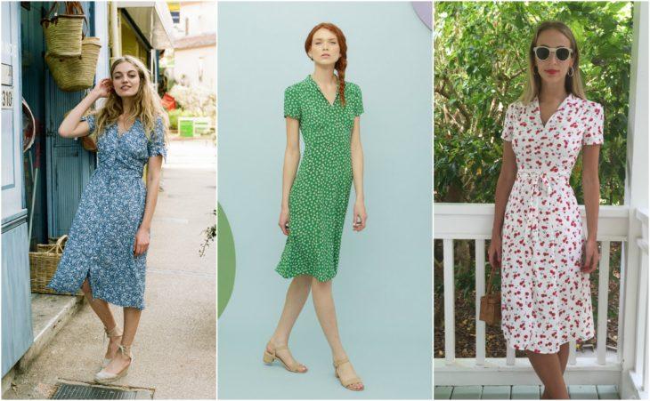 chicas con diversos vestidos estilo tea dress azul, verde, blanco con cerezas