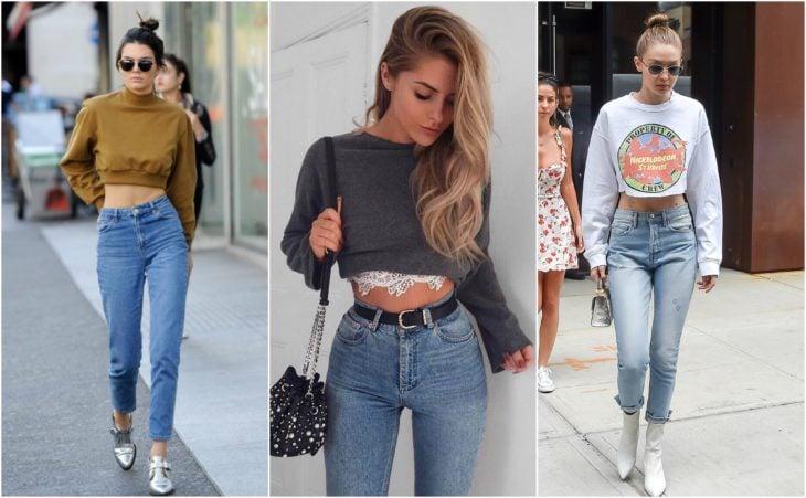 sudadera corta y jeans a la cintura