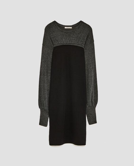 vestido suéter gris con negro