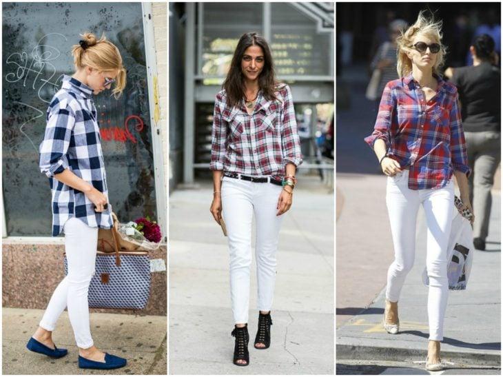 pantalones blancos y camisa de cuadros