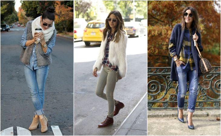 camisa a cuadros, chaqueta y jeans