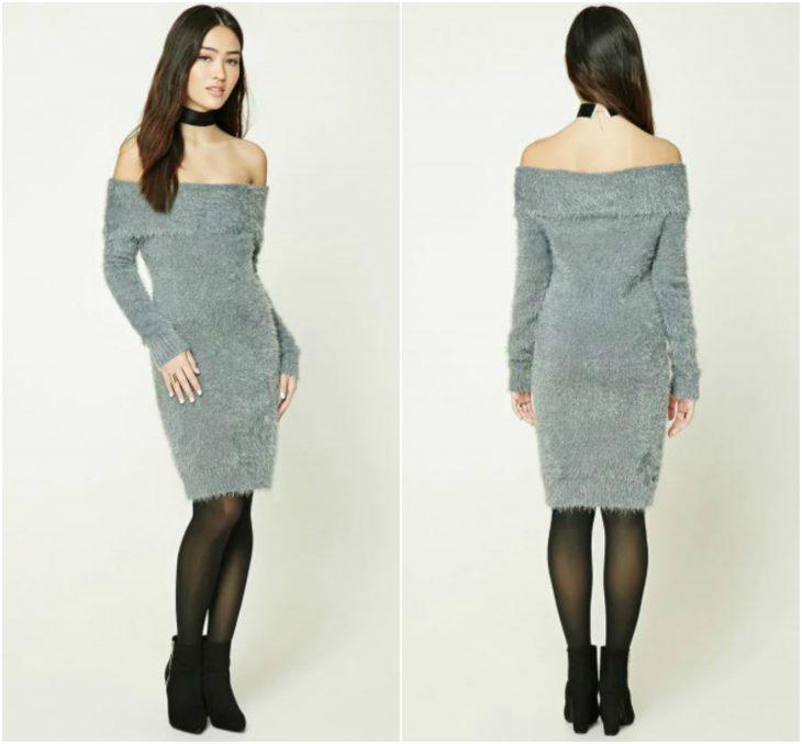 vestidos con escote de hombros