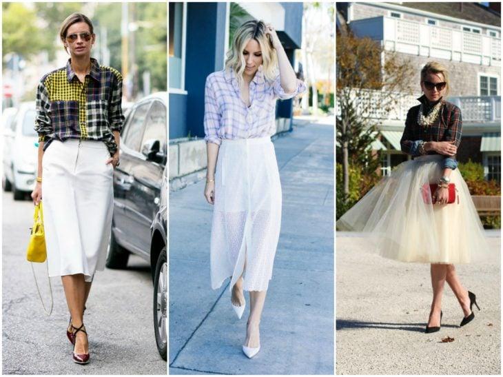 falda blanca y camisa de cuadros