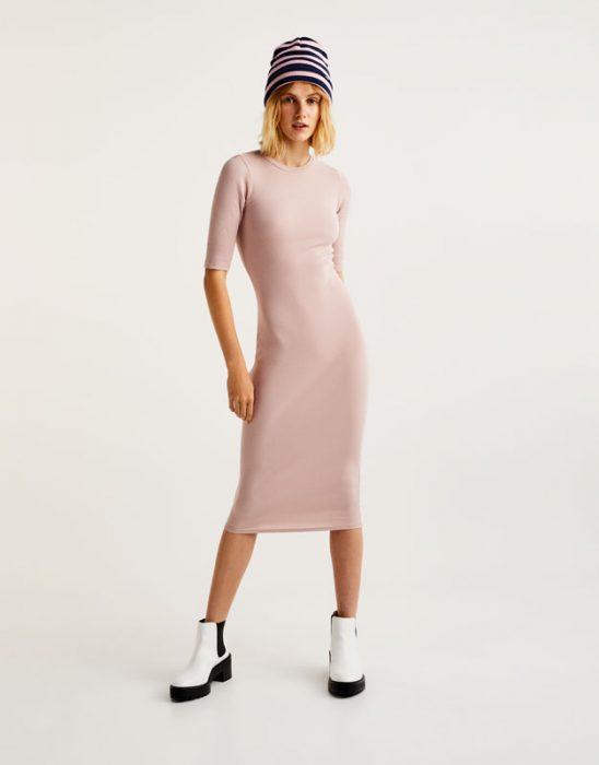 rosa palido vestido sueter