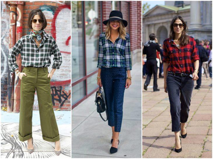 pantalones diversos con camisas de cuadros