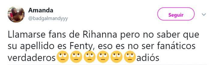 Comentarios en twwiter sobre el nombre real de Rihanna