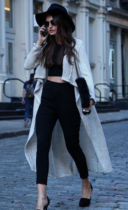 leggins crop top y cardigan