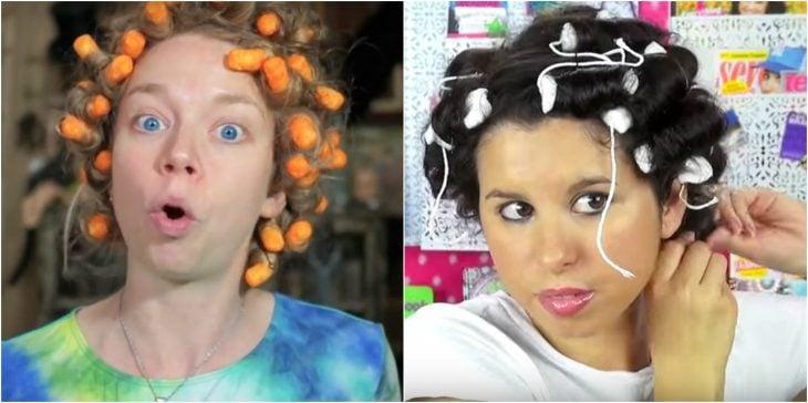 rizarse el pelo con cheetos o tampones