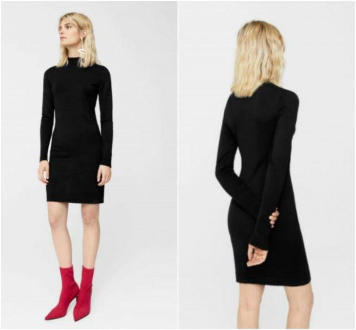 vestido negro entallado