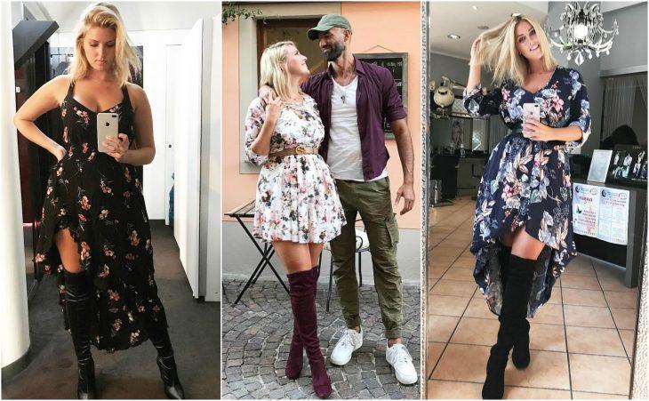 vestido floral y botas largas