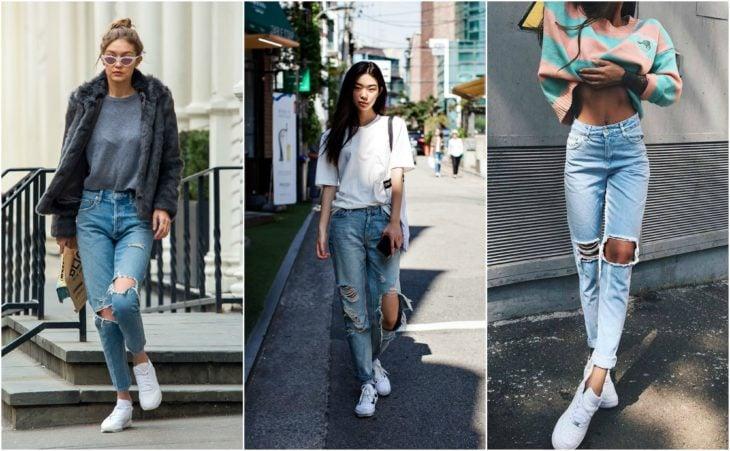 Jeans rotos tenis blancos
