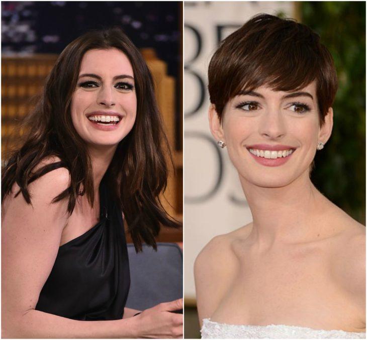 Anne Hathaway cabello largo vs corto