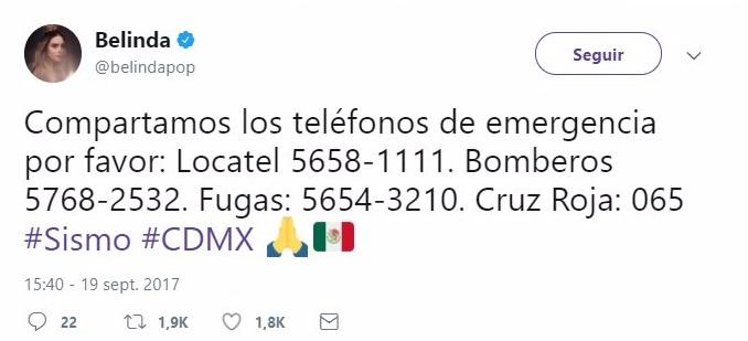 Tuit con numeros de emergencia en México