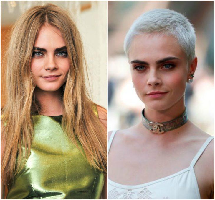 Cara Delevingne cabello largo vs corto