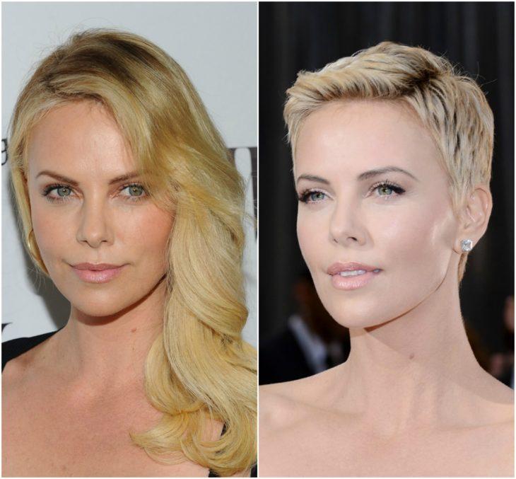 Charlize Theron cabello largo vs corto