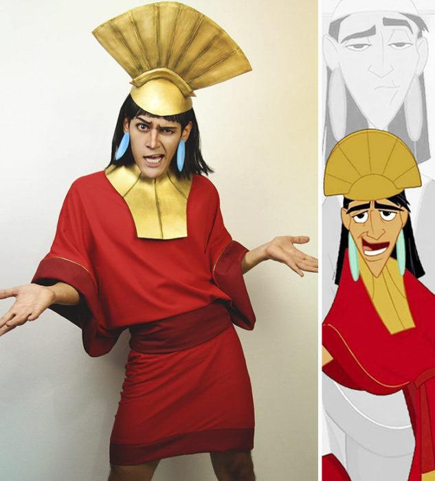 Chico disfrazado como kuzco de Disney