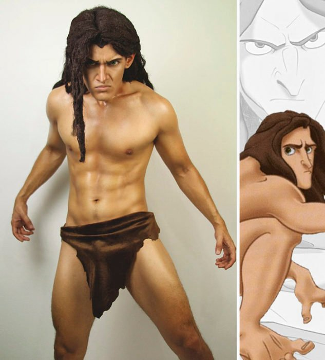 Chico disfrazado como Tarzan