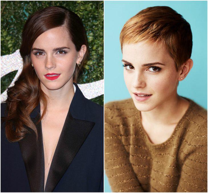 Emma Watson cabello largo vs corto