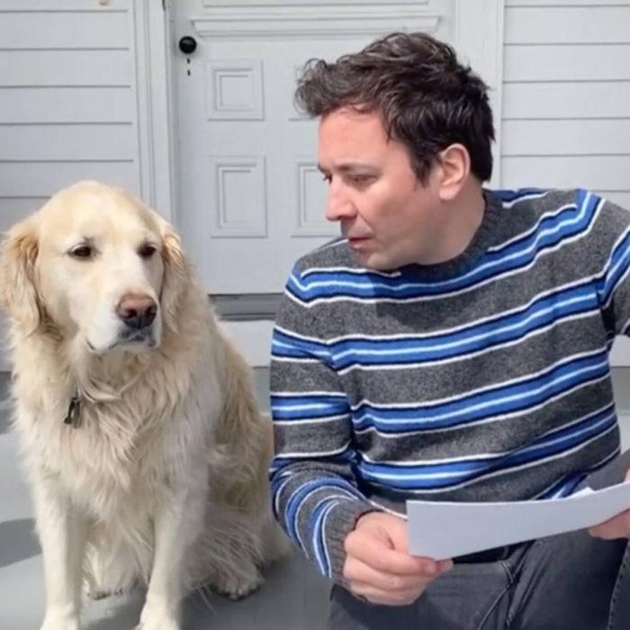 Famosos con sus perros; Jimmy Fallon