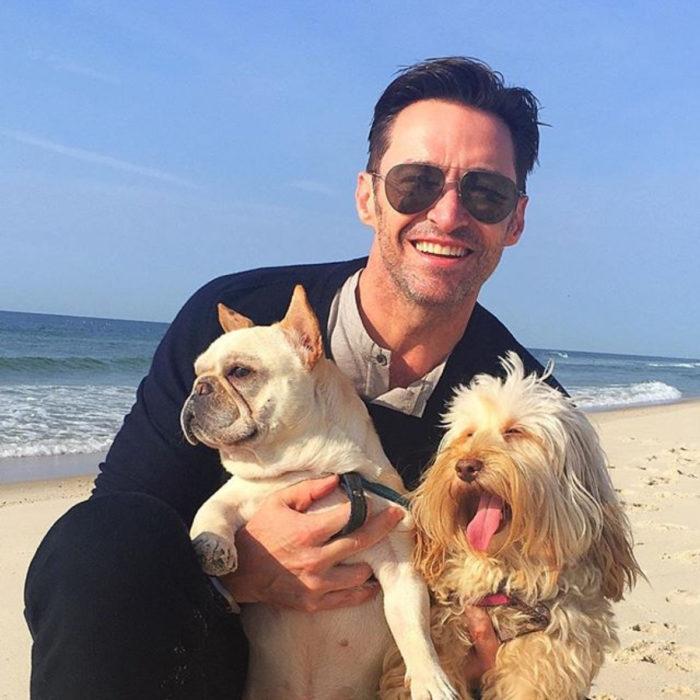 Famosos con sus perros; Hugh Jackman