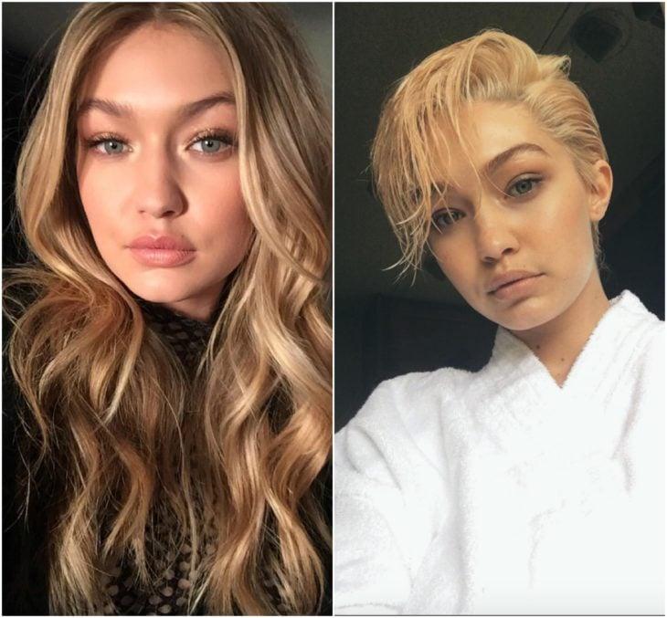 Gigi Hadid cabello largo vs corto