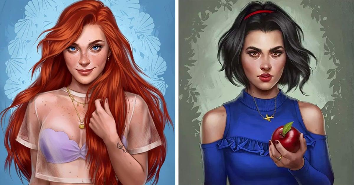 Ilustradora dibuja a las princesas de Disney como si vivieran en el 2017