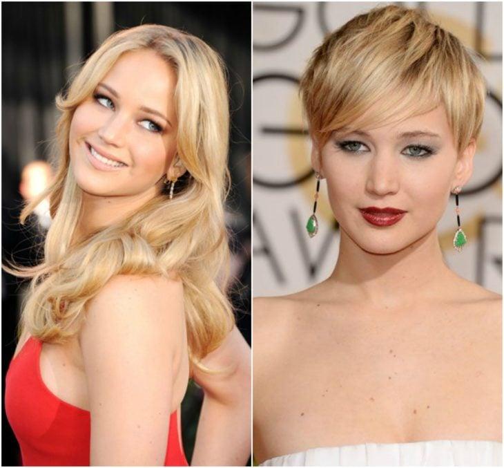 Jennifer Lawrence cabello largo vs corto