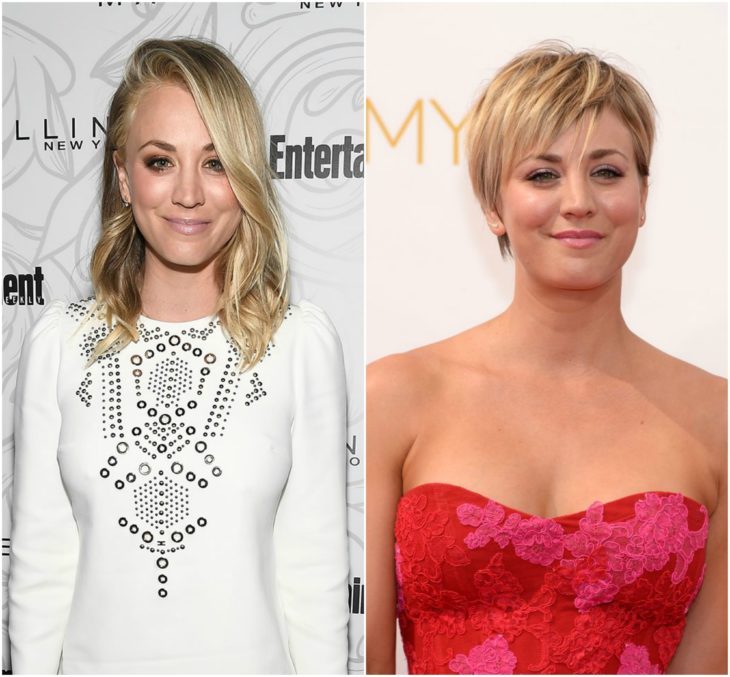 Kaley Cuoco cabello largo vs corto