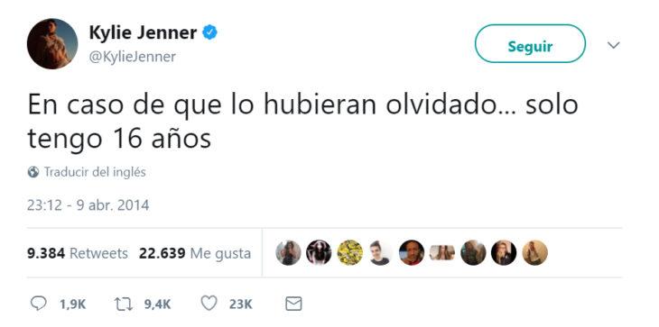 Comentario en twitter de Kylie Jenner sobre su edad