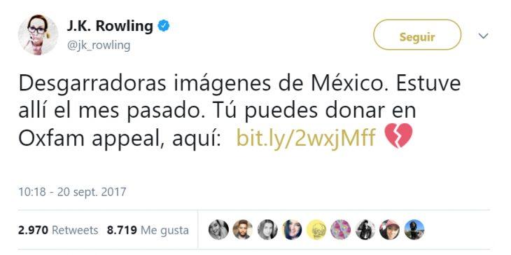 Comentarios en twitter de celebridades en apoyo al México por el terremoto