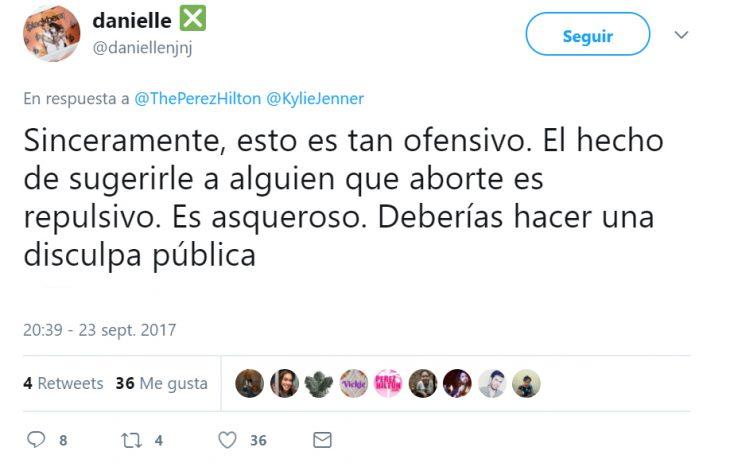 Comentario en twitter sobre el aborto de Kylie Jenner