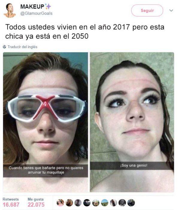 CHICA USANDO GOOGLES