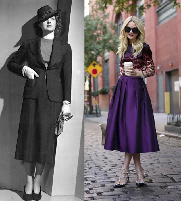 Faldas midi de los años 30 vs faldas midi 2017