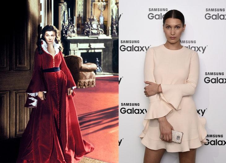 Vestidos con olanes del siglo XIX vs vestido con olanes de bella hadid