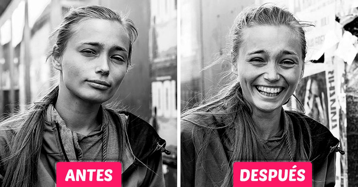Reacciones de desconocidos antes y el después de que el fotógrafo los besara