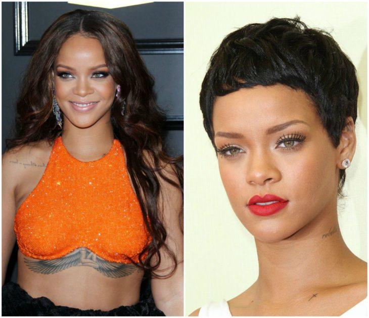 Rihanna cabello largo vs corto