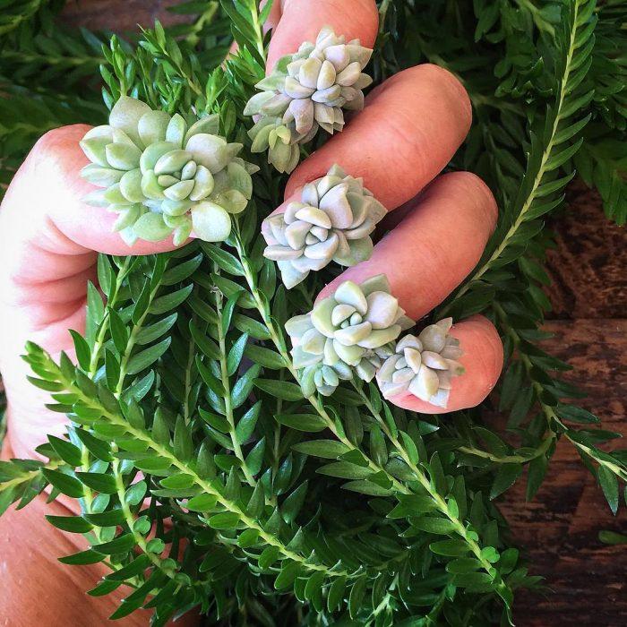 mano apretando flores